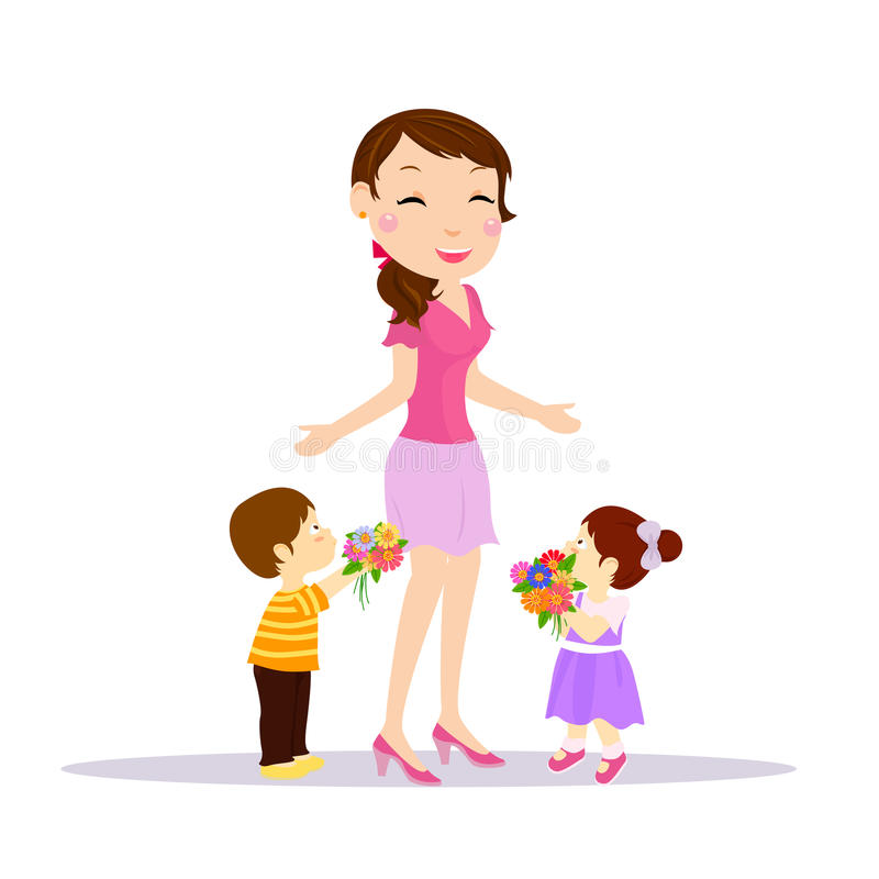 Mother and kids royalty free illustration