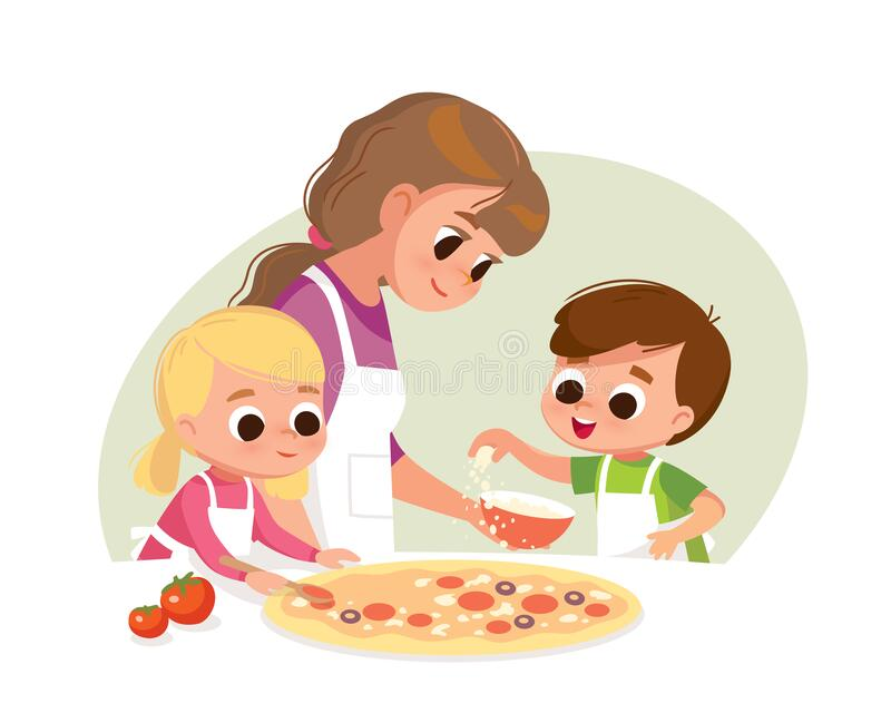 Illustration Of Kids Making Homemade Pizza Under The Guidance.. Royalty  Free Cliparts, Vectors, And Stock Illustration. Image 35170109.
