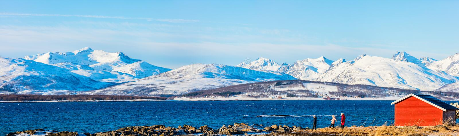 Mother and kids outdoors on winter royalty free stock photos