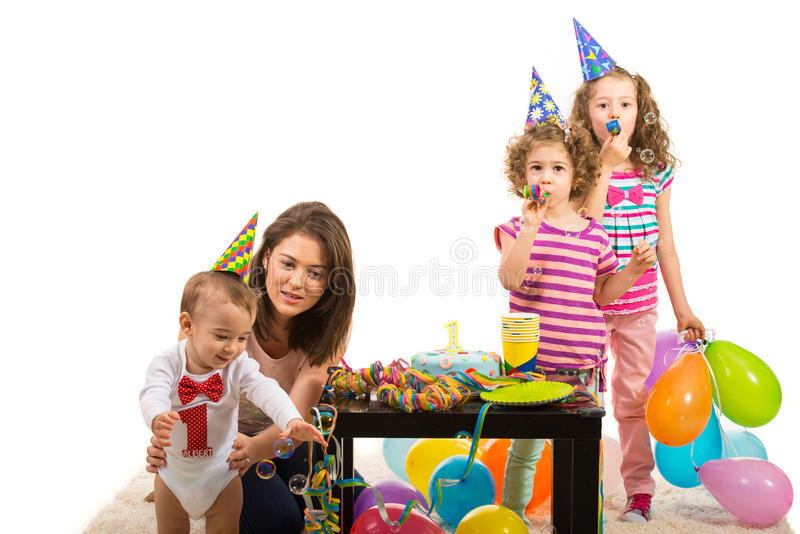 Mother and kids party royalty free stock photography
