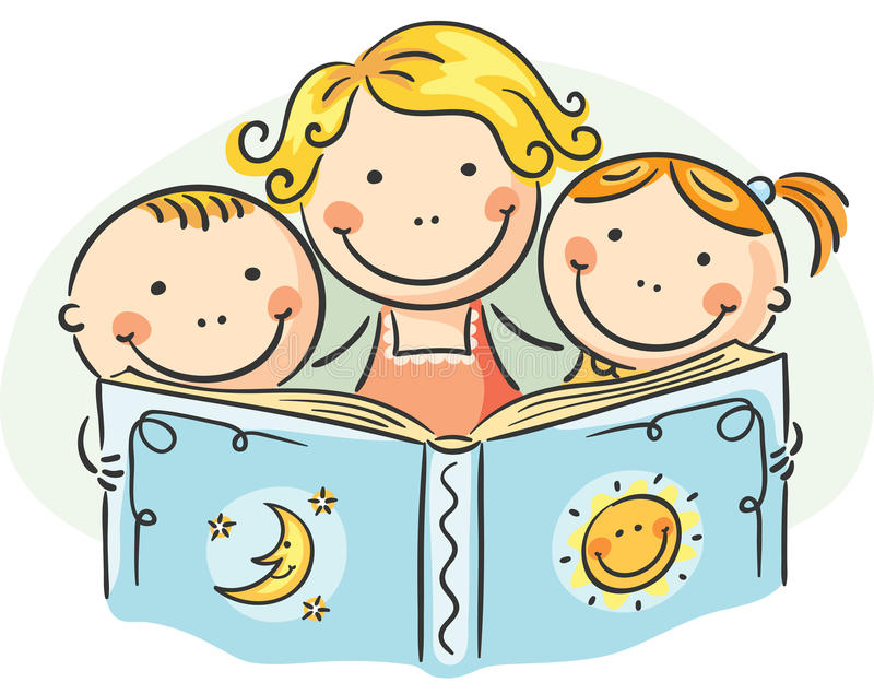 Mother and kids reading together stock illustration