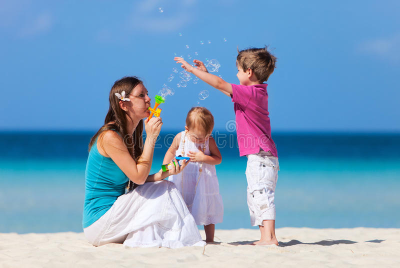Mother and kids on vacation royalty free stock photography
