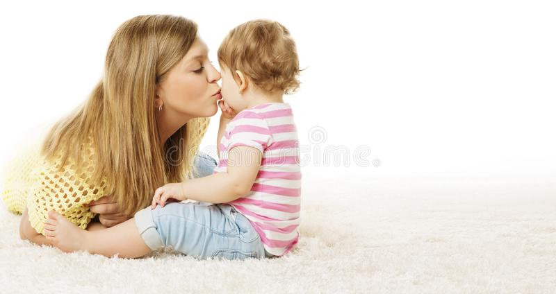 Mother Kiss Her Daughter, Infant Kid Kissing Mom, Happy Baby stock image