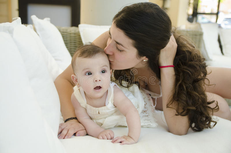 Mother kiss. royalty free stock photo