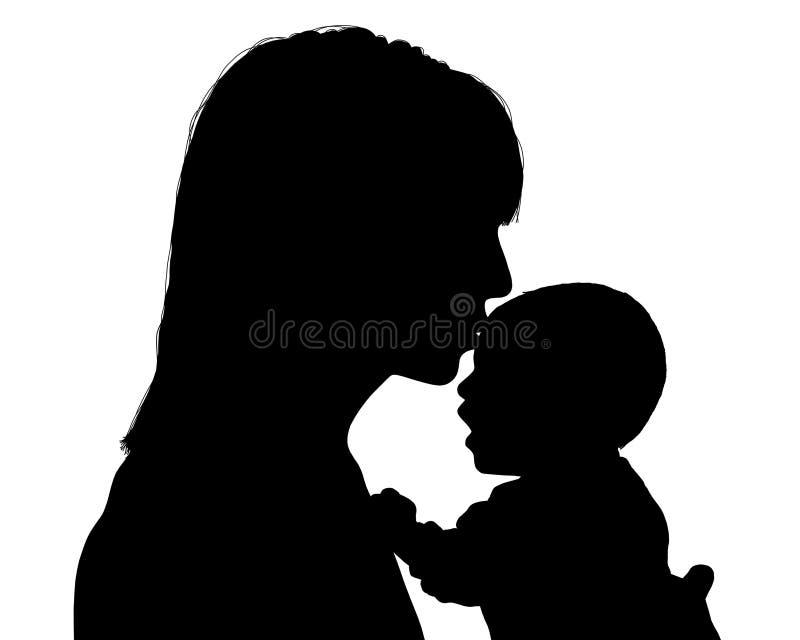 Mother kissing her newborn child silhouette. Young mother kissing her newborn baby silhouette stock illustration