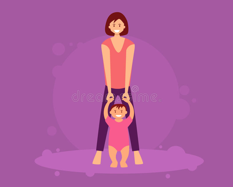 Mother learns child to walk vector illustration