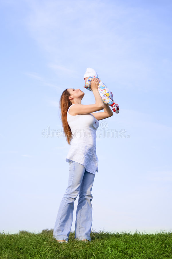 Mother with little baby stock image