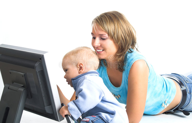 Download Mother with little boy stock photo. Image of internet - 1293126