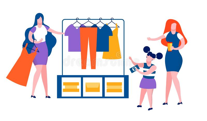 Mother and Little Daughter Spend Time Shopping. Mother and Little Daughter Spend Time Together Shopping, Girl Holding Money Banknote in Hands, Woman Drinking royalty free illustration