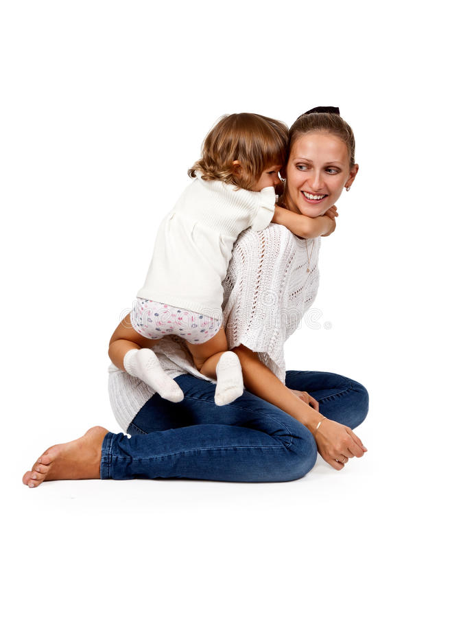Mother And Little Daughter In The Studio Royalty Free Stock Photo