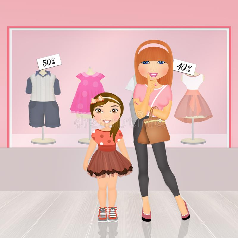 Mother and little girl in the baby shop. Illustration of mother and little girl in the baby shop vector illustration