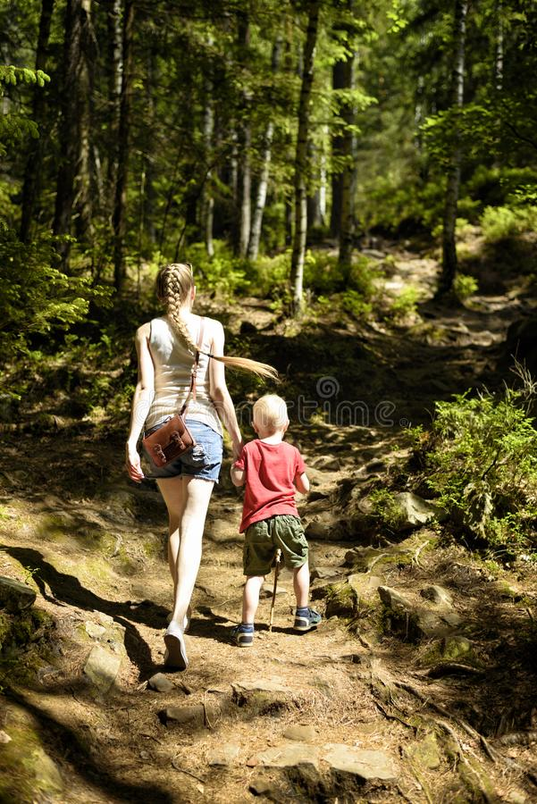 Mother and little son are walking in the sunny forest. Active rest stock photo