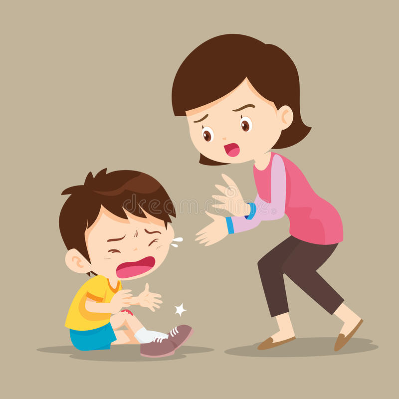 Mother looking at boy with wounds on his leg. Cute Boy crying and His Mom Comforting Upset royalty free illustration
