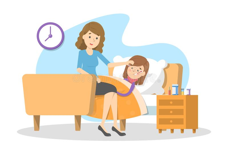 Mother looking at a sick child with fever. Ill kid stock illustration