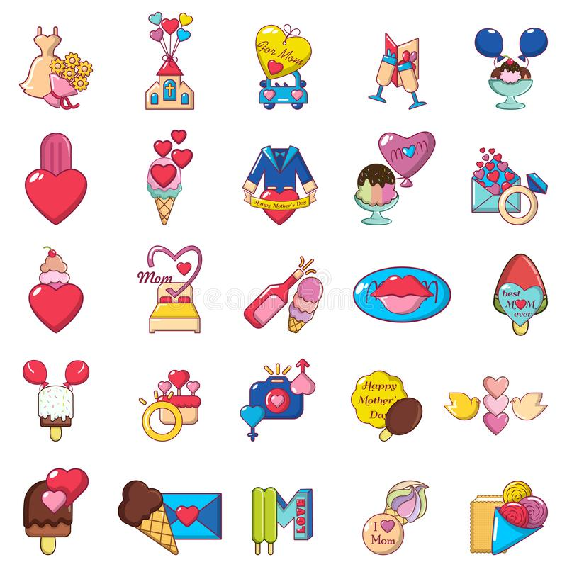 Mother love icons set, cartoon style stock illustration