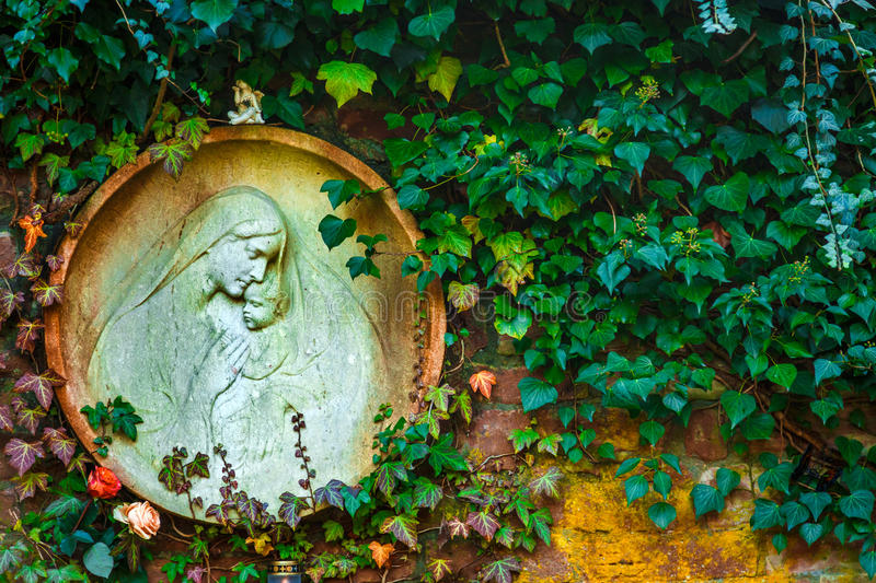 Mother Mary and Jesus Born Christianity Religion in Nature royalty free stock photo
