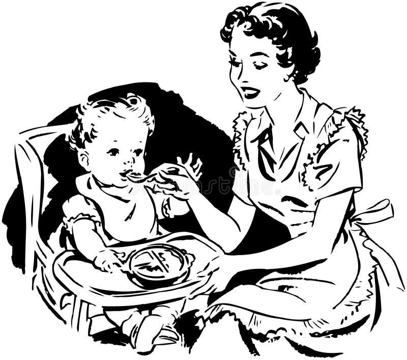 Mother matning behandla som ett barn royaltyfri illustrationer