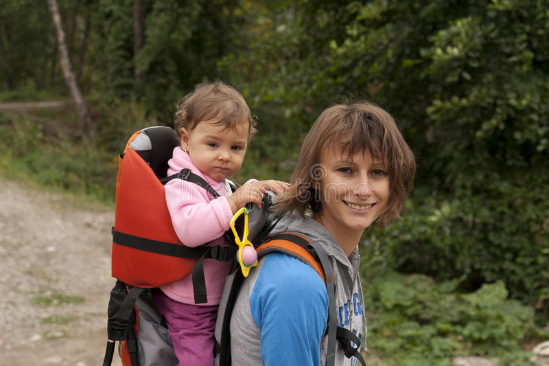 Mother mom with baby hiking royalty free stock image