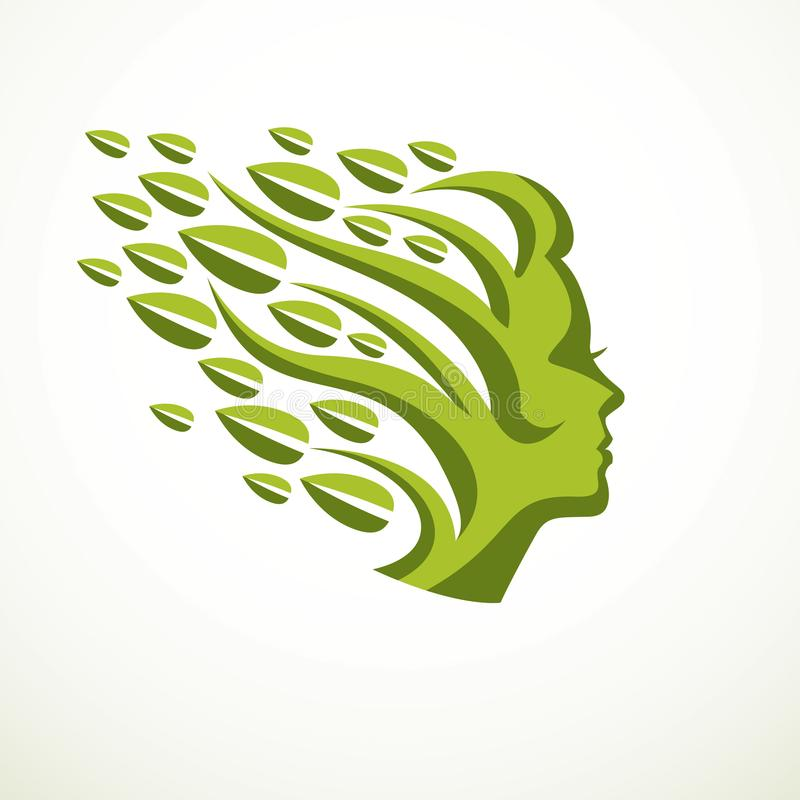 Mother Nature concept, beautiful woman head profile with branches and leaves of natural plant. Vector logo or icon design. Blossoming and growth of everlasting stock illustration