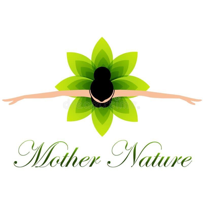 Mother nature dancing in a floral dress vector illustration