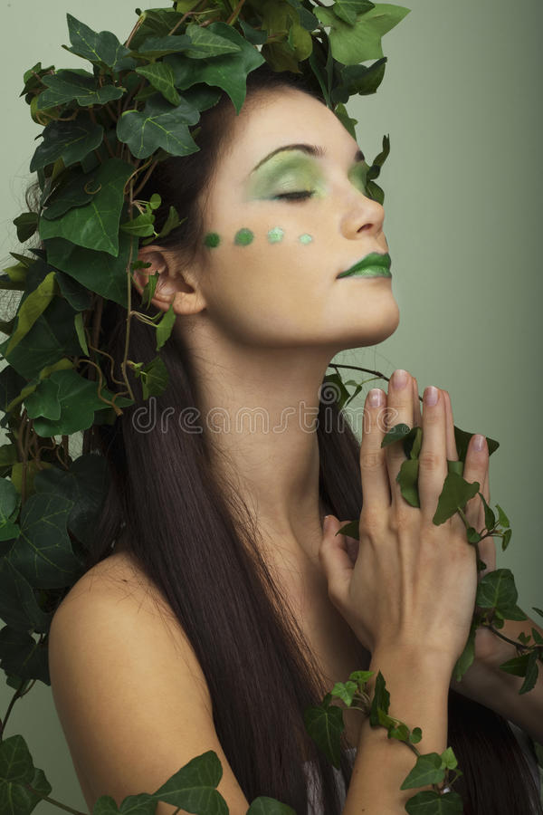 Mother nature praying. For the earth saving stock image