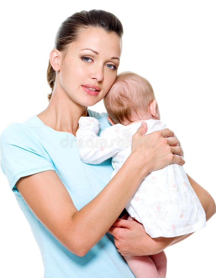 Mother With  Newborn Child On Hands Royalty Free Stock Images