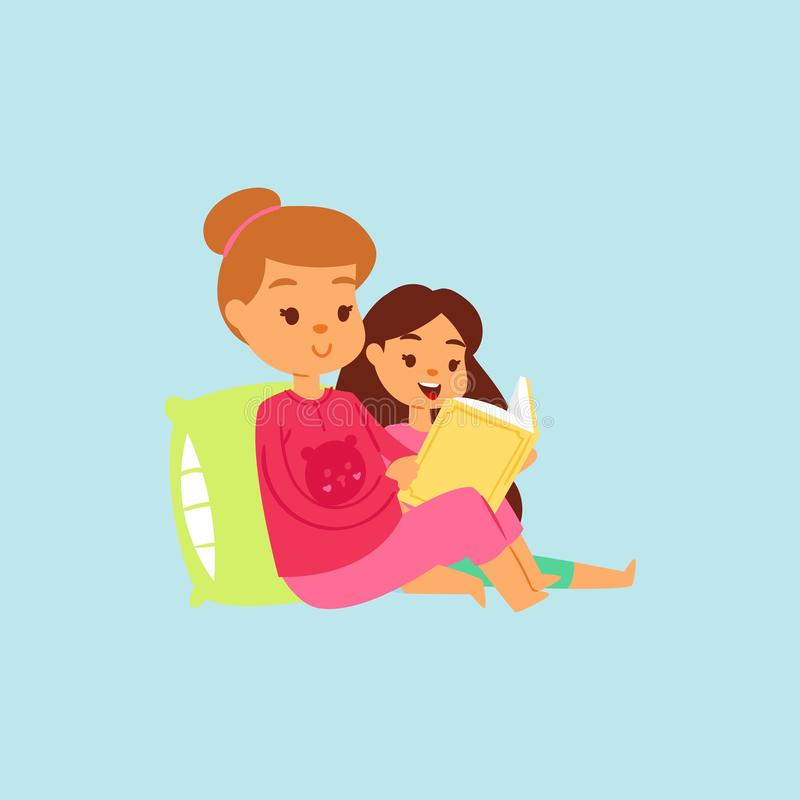 Mother or older sister in pink night-suit reading her daughter the bedtime story in bed. Vector cartoon illustration stock illustration
