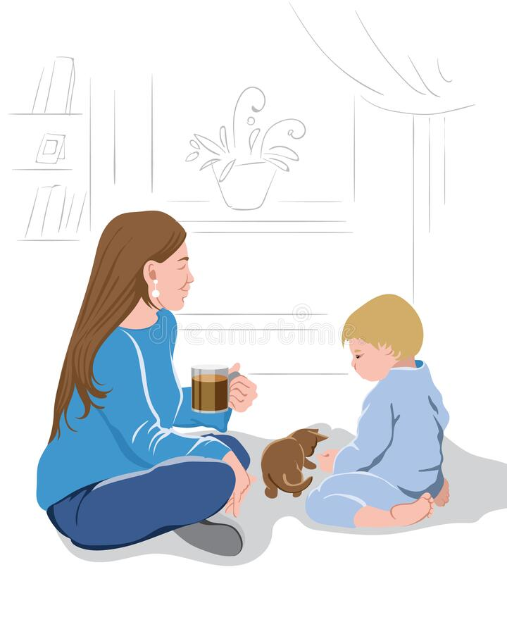 Mother Drinking Coffee Stock Illustrations – 140 Mother Drinking Coffee  Stock Illustrations, Vectors & Clipart - Dreamstime