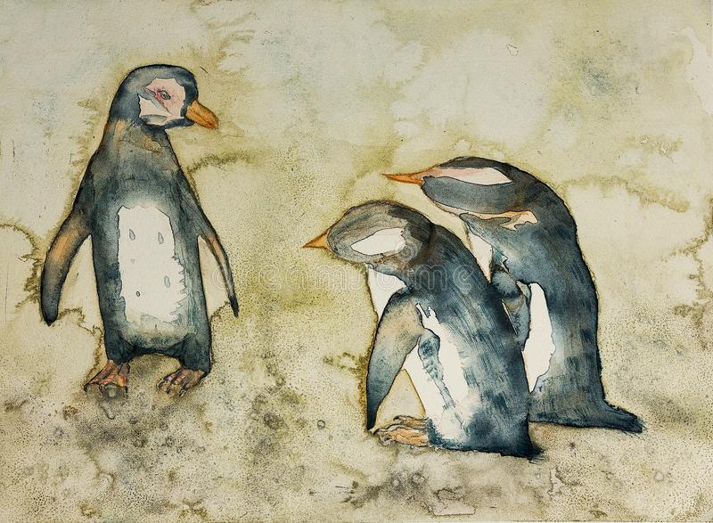 Mother penguin in a conversation with her babies. The dabbing technique near the edges gives a soft focus effect due to the altered surface roughness of the royalty free illustration