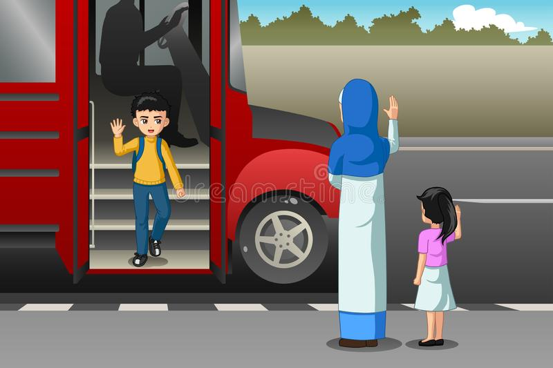 Mother Picking Up Kid From School Bus Illustration stock illustration