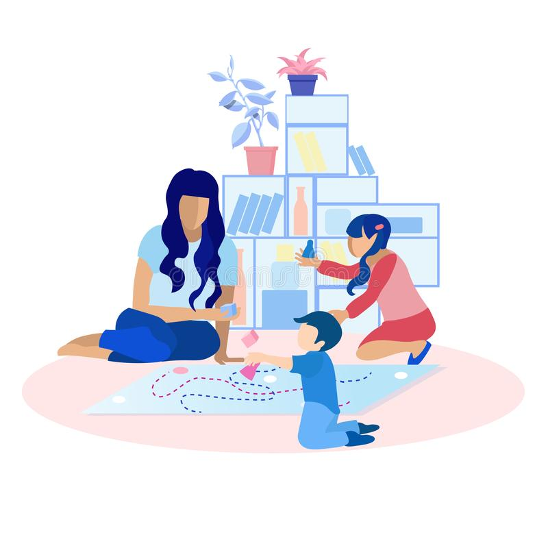 Mother Playing Toys with Children Flat Cartoon. Mother Playing Toys with Children at Home Flat Cartoon. Mom, Daughter and Son Spending Time Together at Home stock illustration