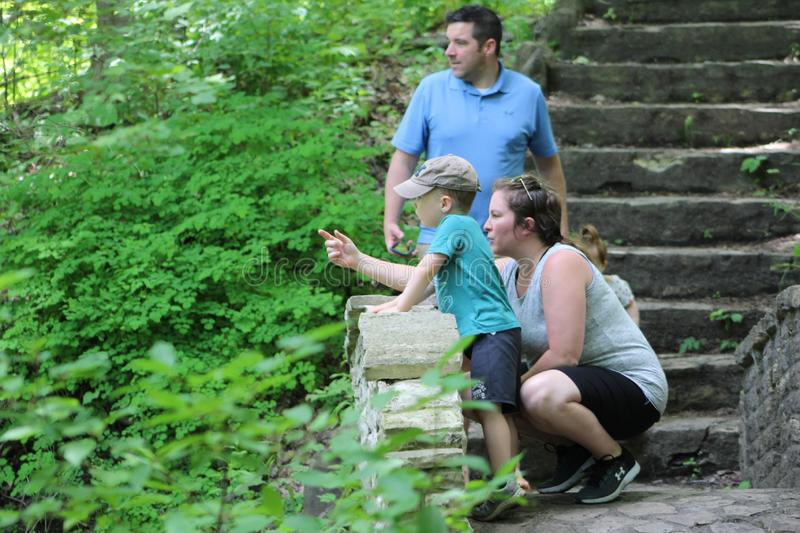 Mother points out some wildlife while strolling through woods. A family pauses on a small stone bridge to observe wildlife while hiking through a county park in stock photo