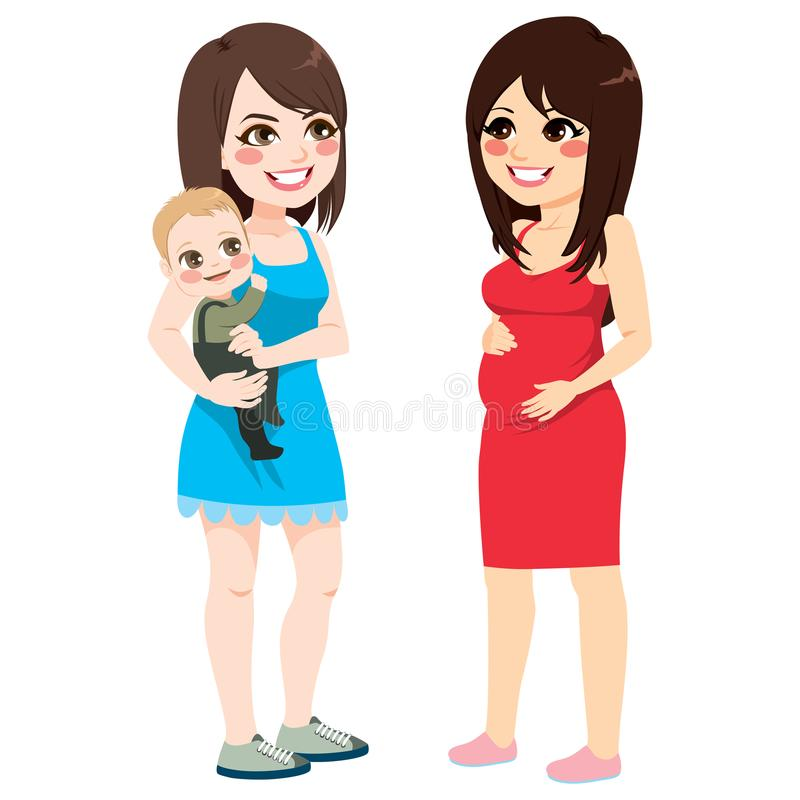 Mother And Pregnant Woman Talking vector illustration