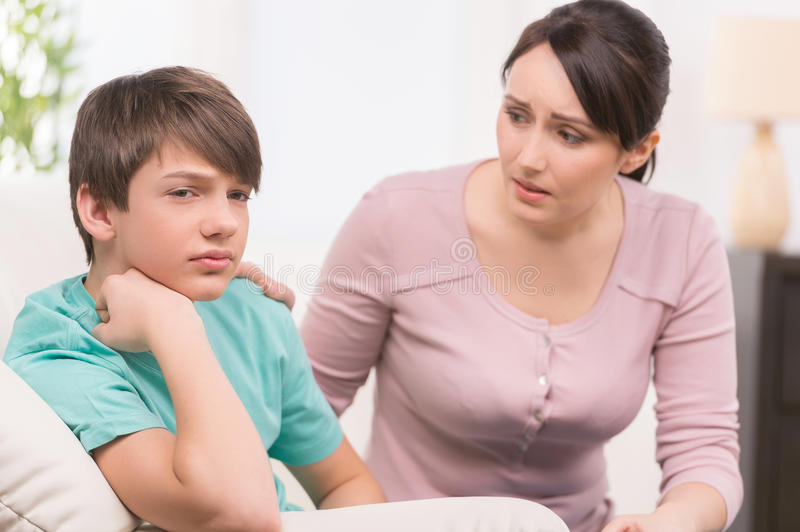 Mother and problem child. royalty free stock photo