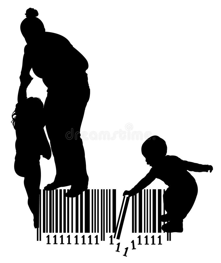 Mother pulling her daughter and baby girl playing on bar code. Silhouette vector royalty free illustration