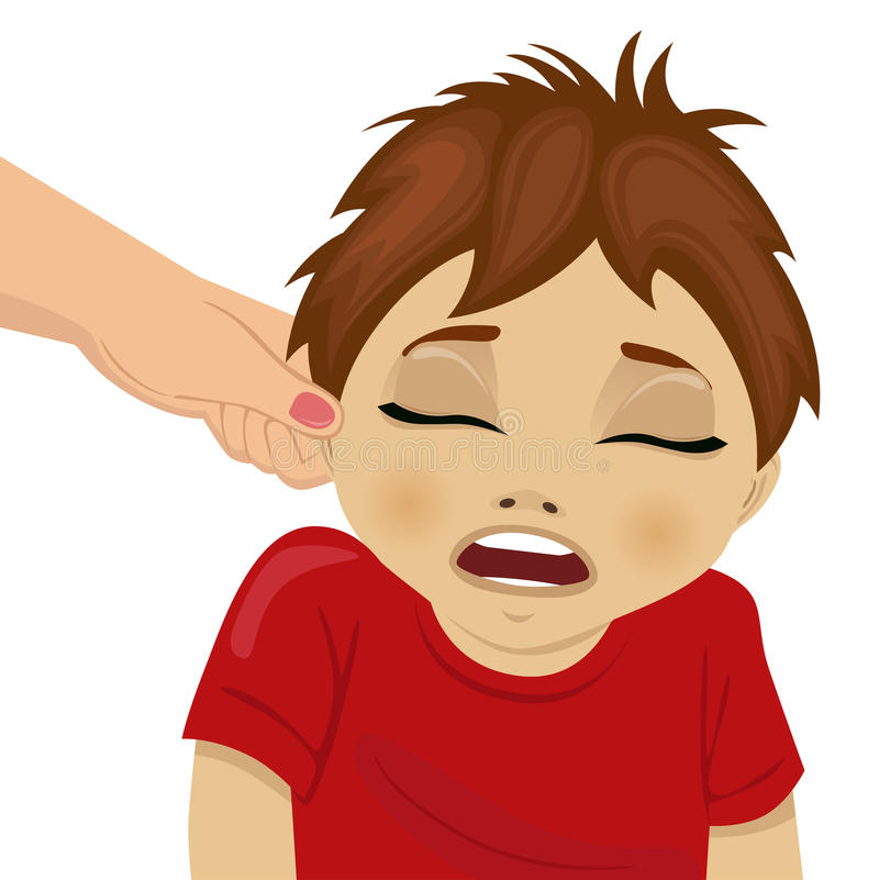 Mother pulling a son`s ear vector illustration