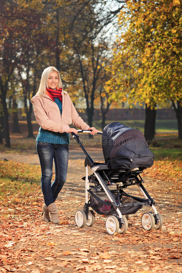 Download Mother Pushing A Baby Stroller In A Park In Autumn Stock Photo - Image of nature, outside: 27745826