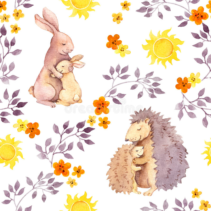 Mother rabbit and mum hedgehog hug baby animal. Watercolor painted seamless pattern vector illustration