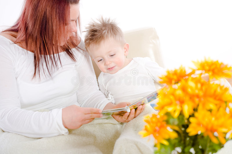 Download Mother reading for baby stock photo. Image of babies, babyboy - 7627738