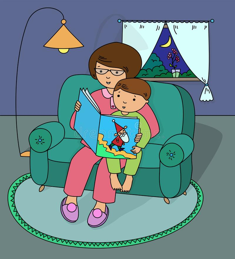 Mother reading bedtime story to her son. Mother and son sitting on the sofa and reading a bedtime story. Outside the window in the evening. Cartoon vector vector illustration