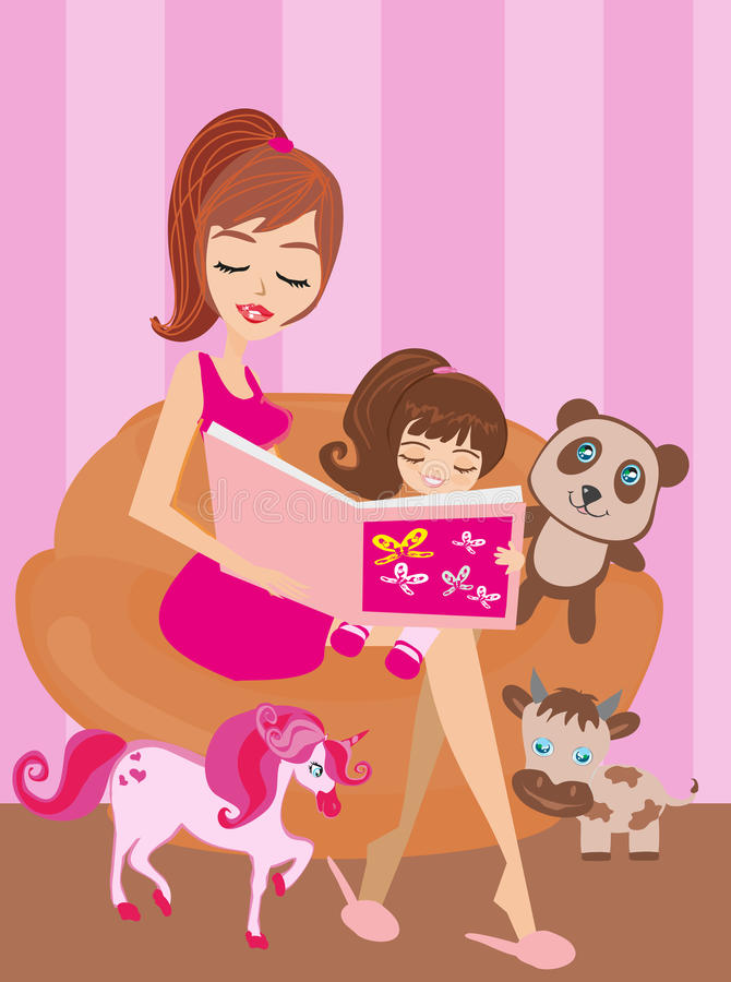 A mother reading a book with her daughter stock illustration