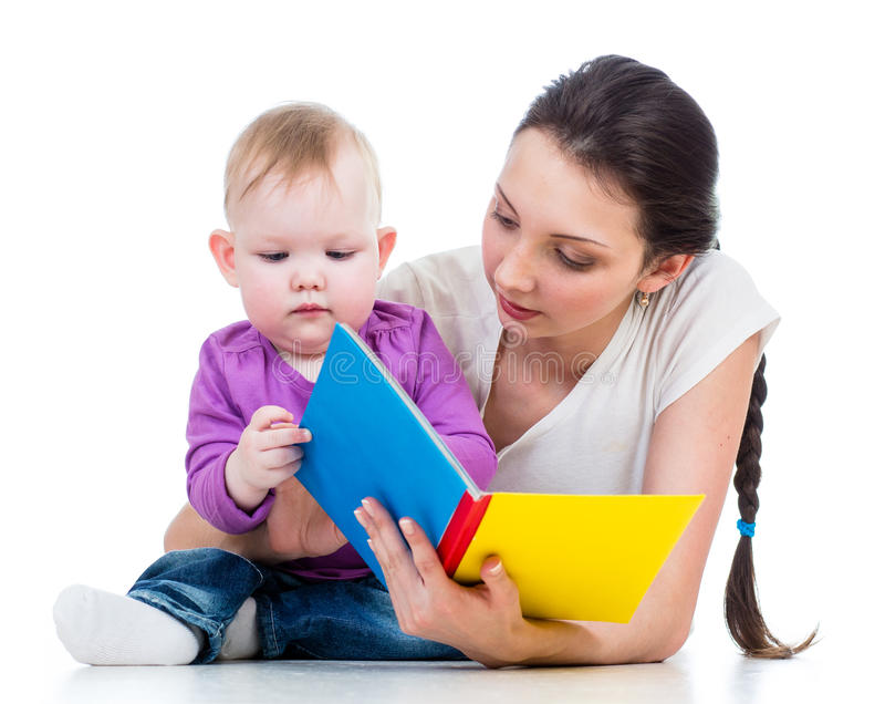 Mother reading a book her kid girl royalty free stock images