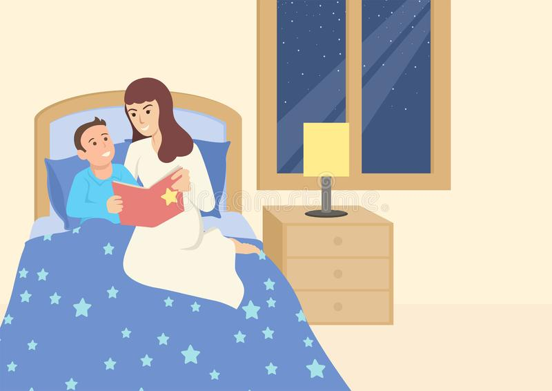 Mother reading a book to her child before sleep. Simple flat vector illustration of a mother reading a book to her child before sleep. Bed time story vector illustration
