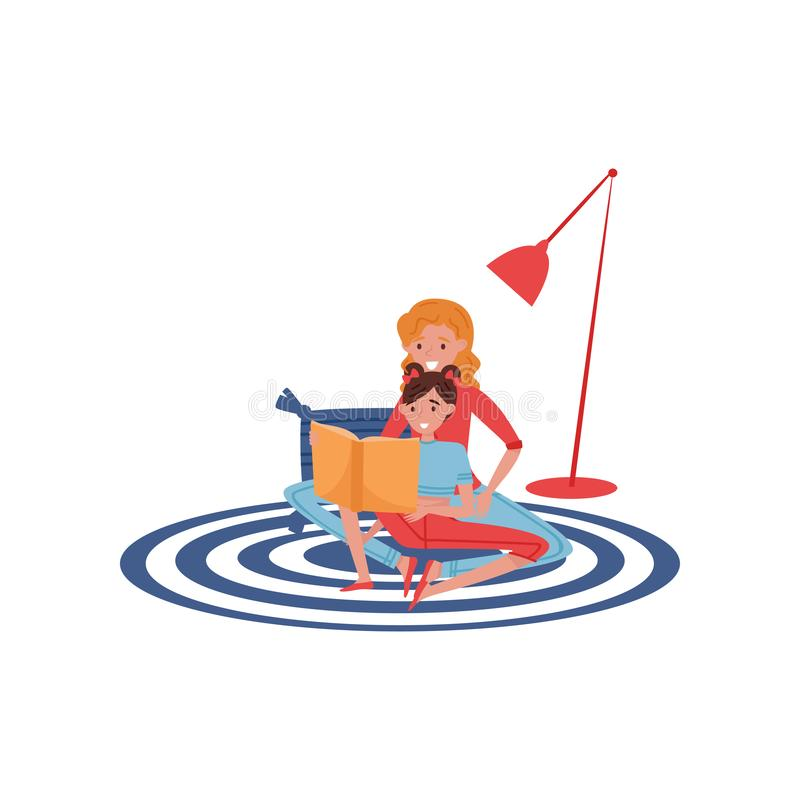 Mother reading book to her daughter. Cute girl and young woman sitting on carpet at home. Flat vector design royalty free illustration