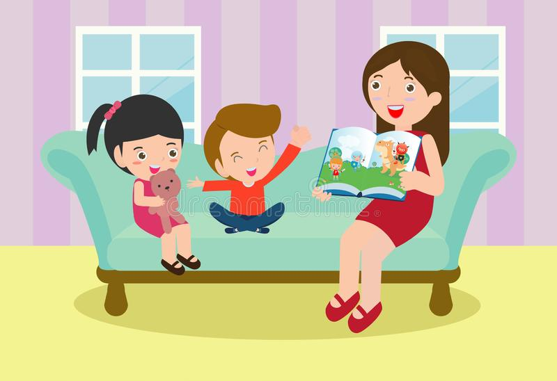 Mother reading fairy tales to her son and daughter, family, reading and telling book fairy tale story, Kids Listening to Their mom stock illustration