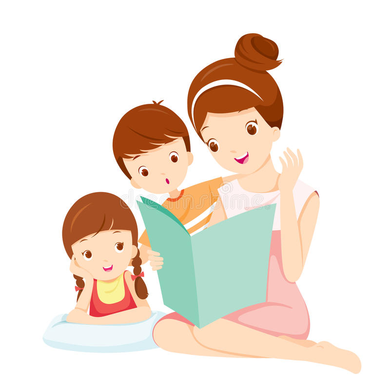 Mother Reading Tale Book To Daughter And Son vector illustration