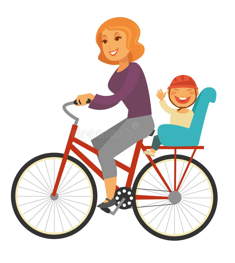 Mother rides bicycle with baby boy on special seat. Mother rides bicycle with baby boy on special back seat isolated cartoon flat vector illustration on white stock illustration