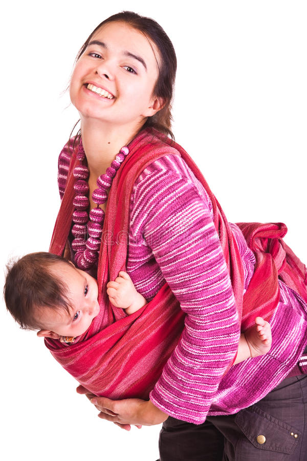 Download Mother Rocks Baby To Sleep In Sling Stock Image - Image: 12487153