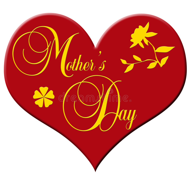 Mother's day. Red plastic heart with the lettering Mother's Day and a clover leaf and a flower vector illustration