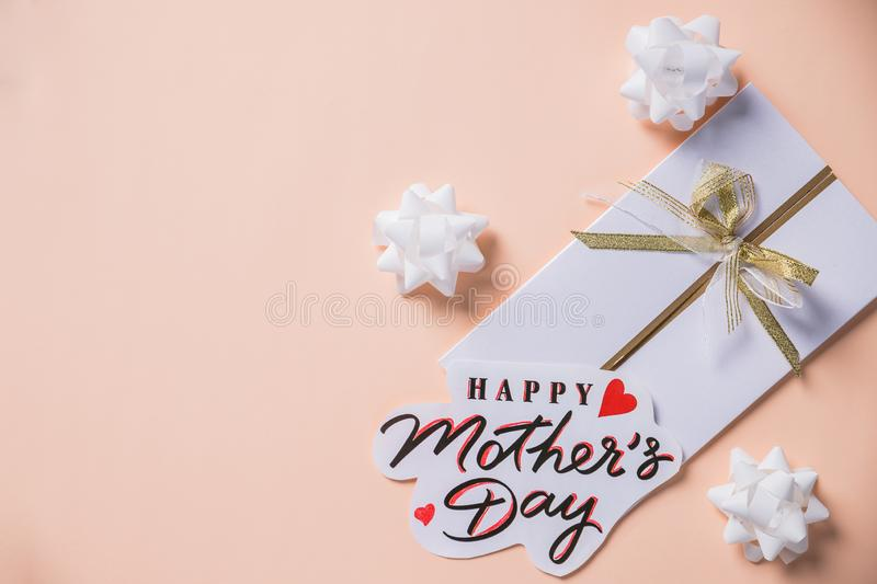 Mother`s day background, pastel background with greeting card.Concept for Happy Mothers Day.creative minimalism royalty free stock images